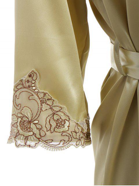fancy Faux Silk Outerwear and Slip Dress Loungewear - BLUISH YELLOW L Mobile
