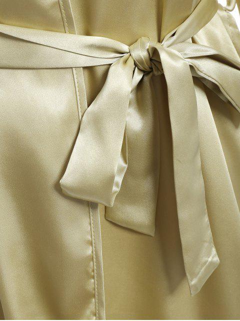chic Faux Silk Outerwear and Slip Dress Loungewear - BLUISH YELLOW XL Mobile