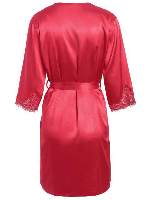 trendy Faux Silk Outerwear and Slip Dress Loungewear - BRIGHT RED XL Mobile