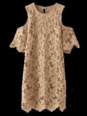 Vestido De Encaje Con Hombros - Caqui M