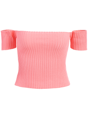 Schulterfrei geripptes Stricken Crop Top