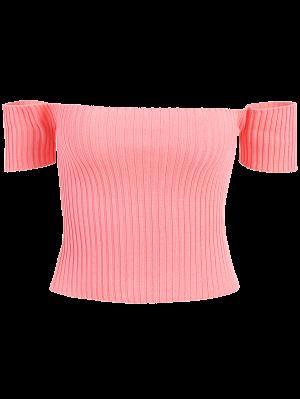 Off The Shoulder Rib Knit Crop Top - Orangepink