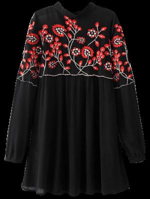 Vestido Floral Con Bordado Con Cuello Levantado - Negro L