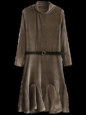 Velvet Pleated Mermaid Dress - Coffee S