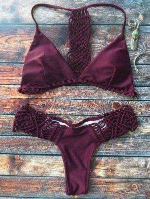 Ensemble De Bikini Tricoté à Bretelles - Bourgogne M