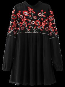 Stand Neck Floral Embroidered Dress - Black S