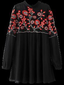 Vestido Floral Con Bordado Con Cuello Levantado - Negro S