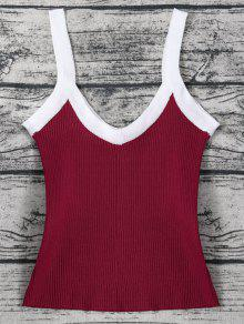 Color Block Knitted Ribbed Tank Top - Wine Red