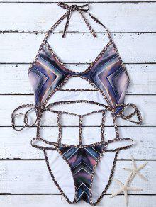 Chevron Pattern Caged Swimsuit - Multicolor Xl