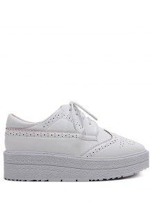 Cuero De Imitación De Grabado De La Plataforma Del Lazo Para Arriba Los Zapatos - Blanco 39