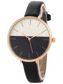 Color Block Quartz Watch - Black