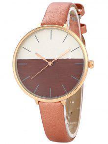 Color Block Quartz Watch - Brown