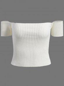Fuera Del Hombro De Punto Acanalado Camisa Corta - Blanco