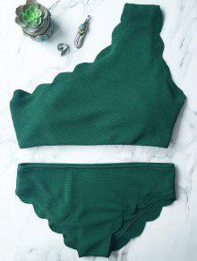 Wireless Scalloped One Shoulder Bathing Suit - Blackish Green L