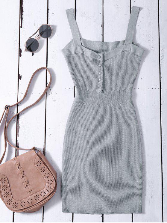outfits Wide Strap Bodycon Sweater Dress - GRAY ONE SIZE