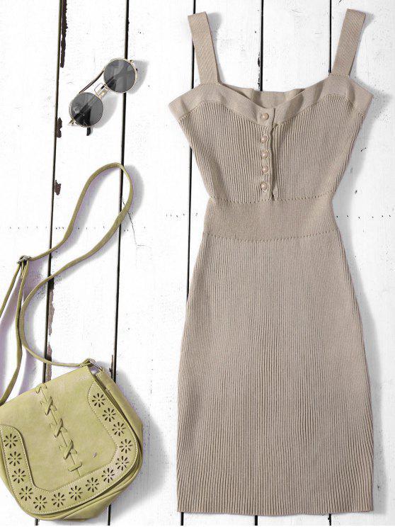 Robe Pull Ajustée à Bretelles Larges - Kaki TAILLE MOYENNE