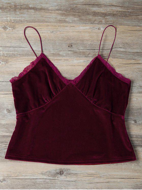 affordable Lace Trim Velvet Camisole Top - BURGUNDY S