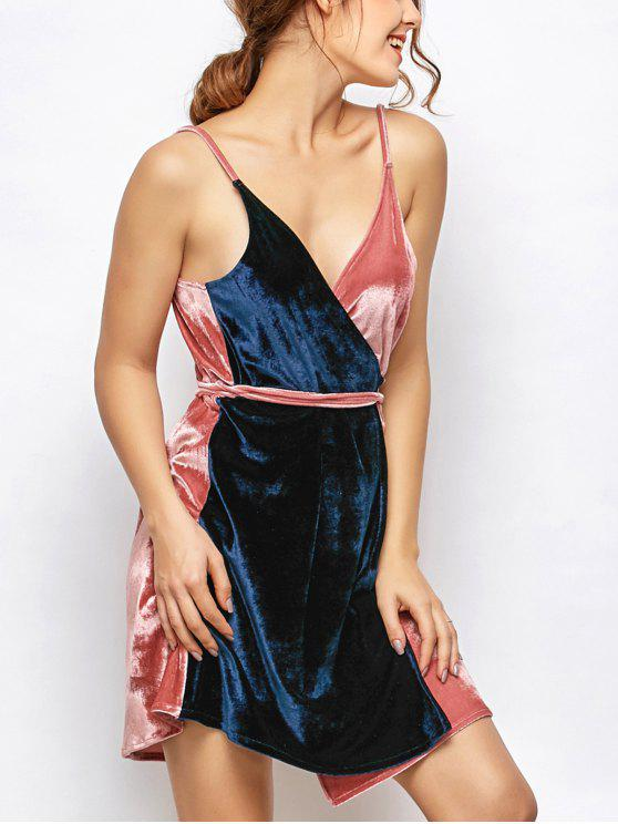 trendy Velvet Two Tone Wrap Dress - BLUE AND PINK ONE SIZE