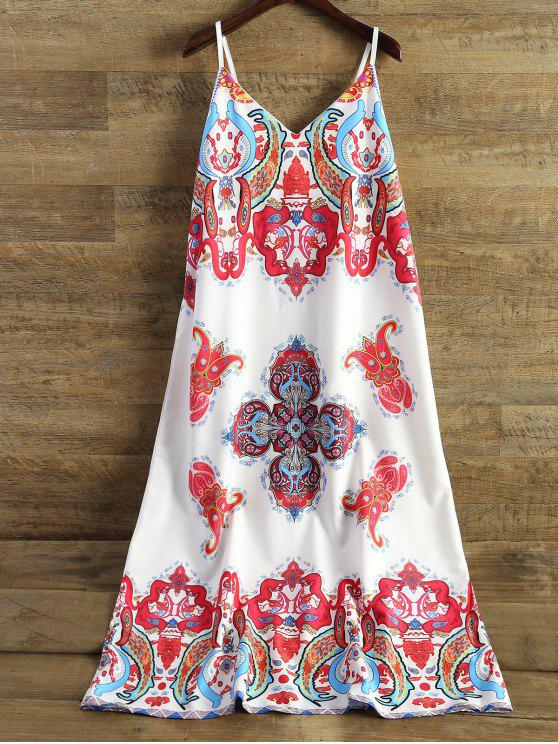 fancy Printed Camisole Midi Dress - WHITE XL