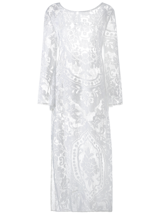 women Flare Sleeve Sheer Lace Maxi Dress - WHITE L