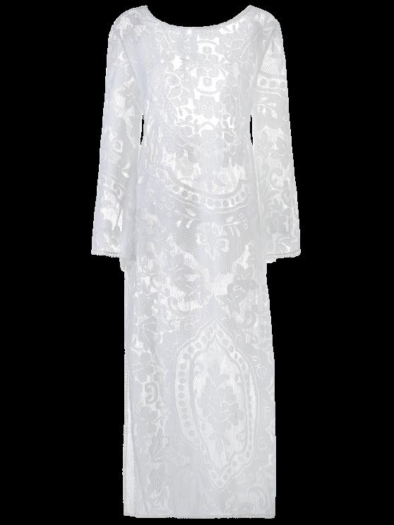 Sheer Maxi Kleid mit Trompeten Langärmel und Spitze - Weiß S