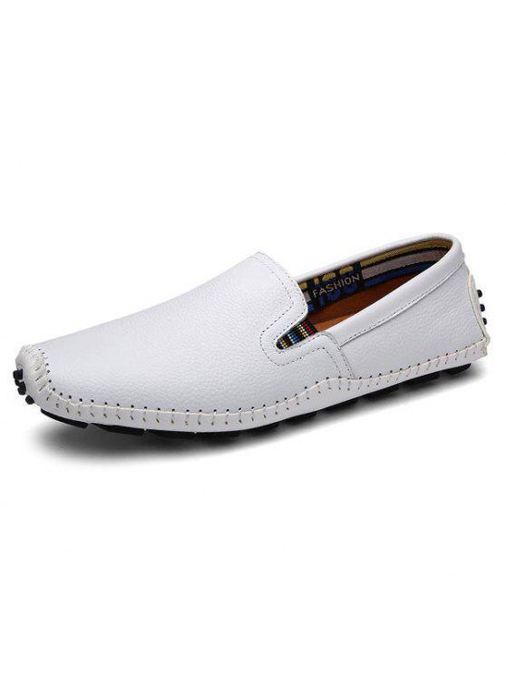 فو الجلود خياطة الانزلاق على أحذية رياضية - أبيض 44