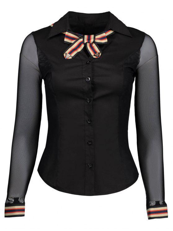 fce313ba96cb8 27% OFF  2019 Pussy Bow Mesh Insert Shirt In BLACK