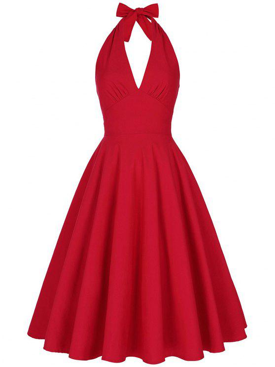 unique Backless Plunge Halter Vintage Swing Skater Party Dress - RED M