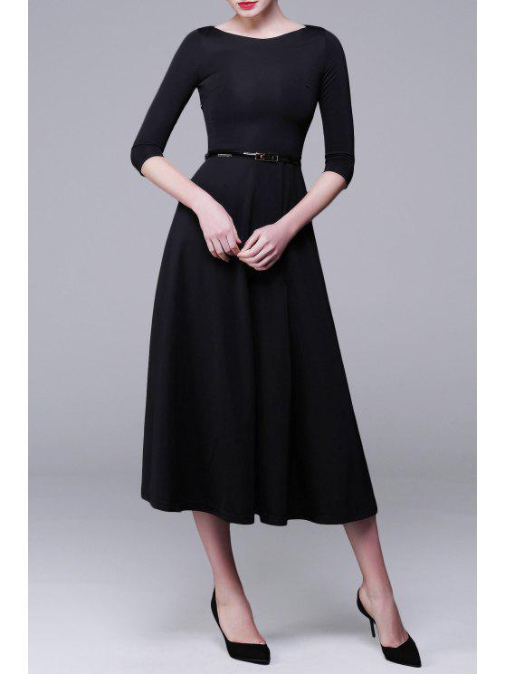 best Three-Quarter Sleeve Midi A-Line Dress - BLACK M