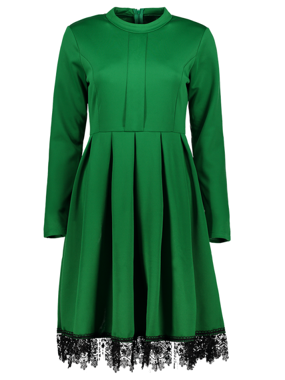 shops Lacework Stand Collar Flare Dress - GREEN M