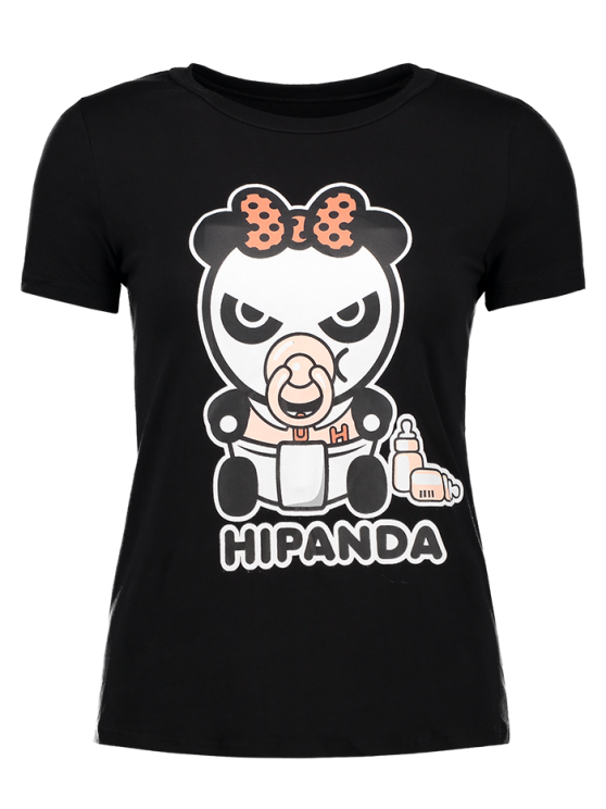 women Cartoon Panda Pattern Tee - BLACK M