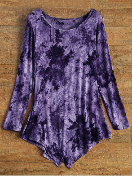 Asimétrica Teñido anudado de la camiseta - Púrpura S