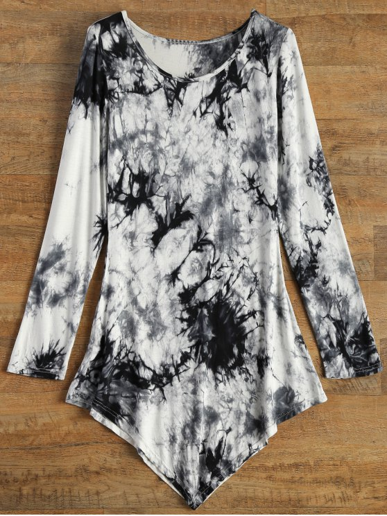 ladies Asymmetric Tie-Dyed T-Shirt - GRAY S