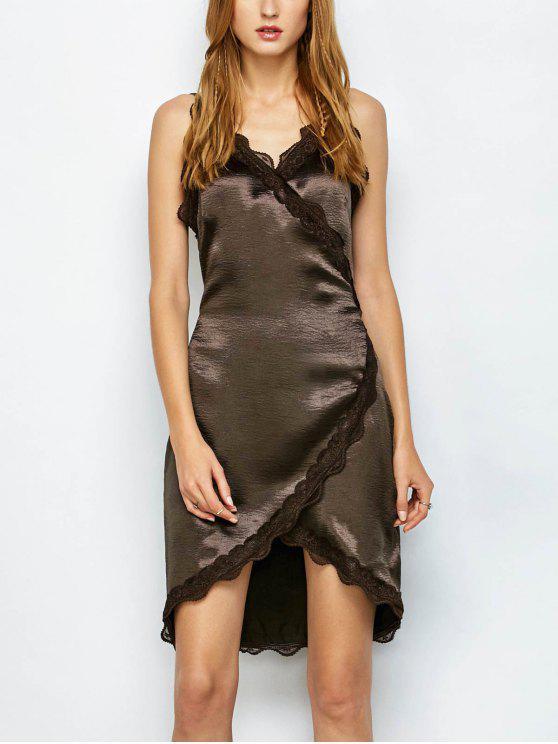 Lace Trim Wrap Slip Dress - Café foncé XL