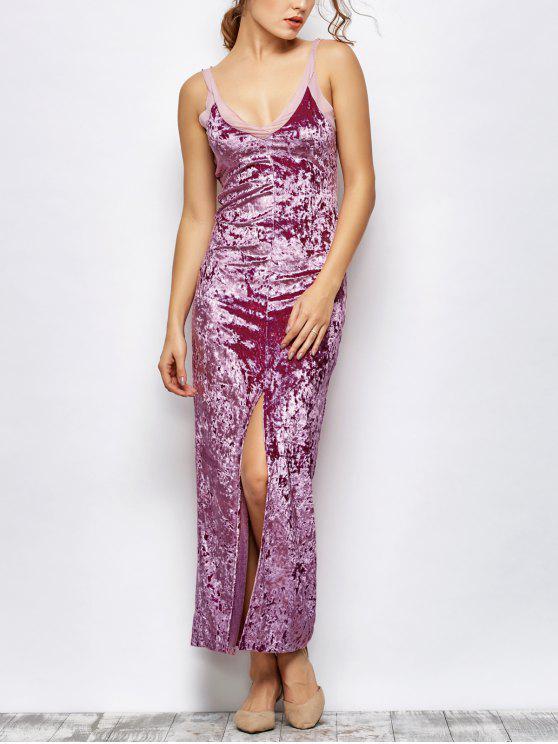 Maxi Vestido de Terciopelo Aplastado con Abertura Frontal - Púrpura S