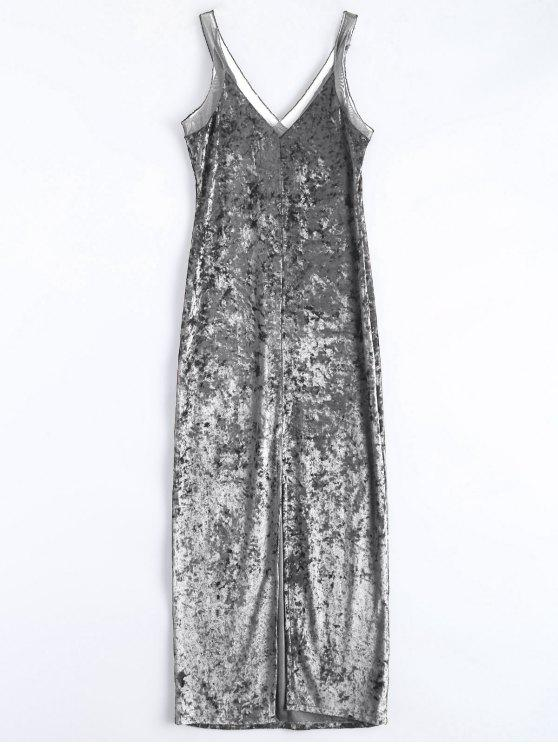 outfit Front Slit Crushed Velvet Maxi Dress - SILVER S