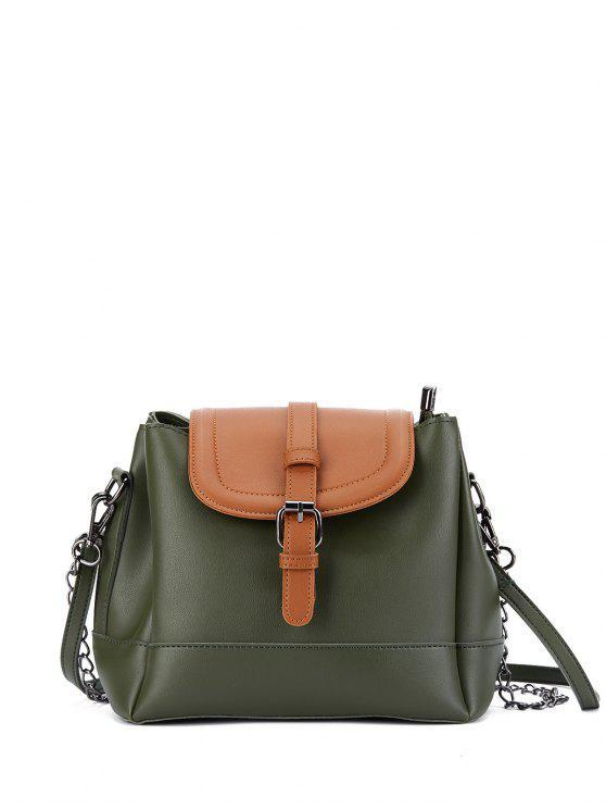 Buckle Strap Color Block Bucket Bag - Vert Armée