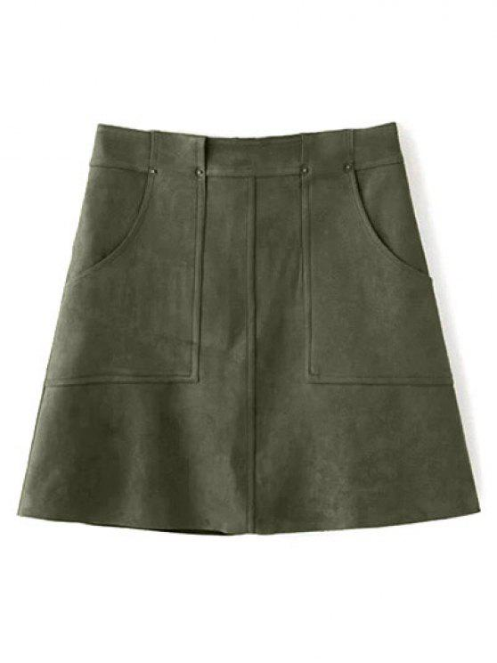 fancy A Line Front Pockets Suede Skirt - OLIVE GREEN S