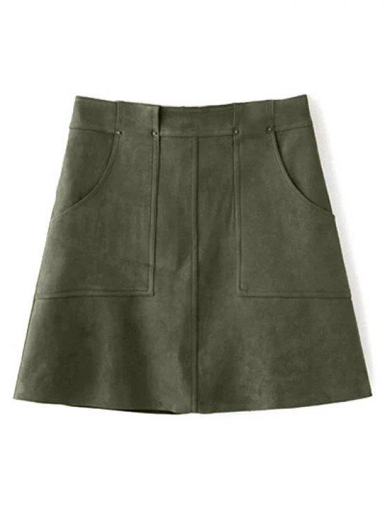 Una línea bolsillos delanteros del ante de la falda - Verde Oliva L