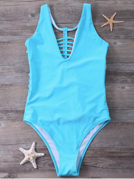 سترابي قطعة واحدة ملابس السباحة - أزرق L