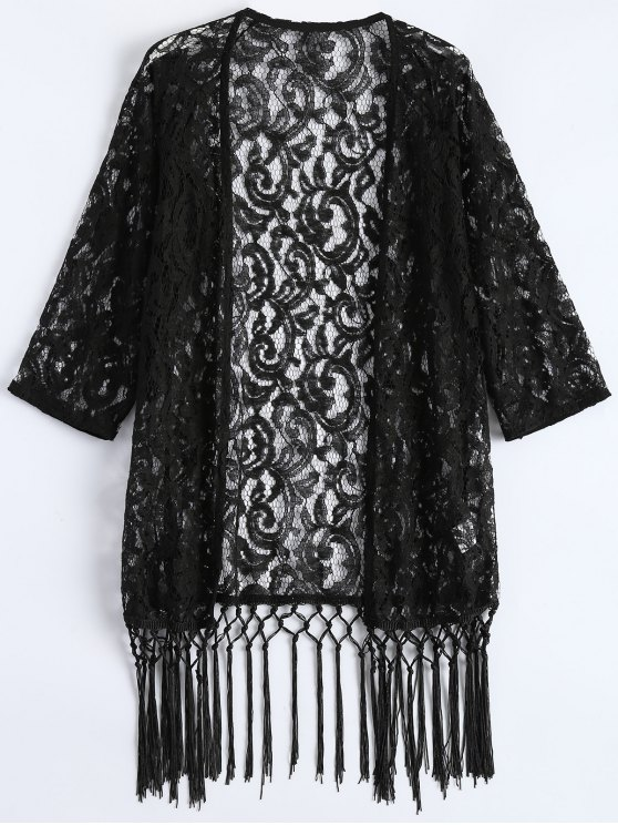 best Fringe Lace Kimono Cover Up - BLACK M