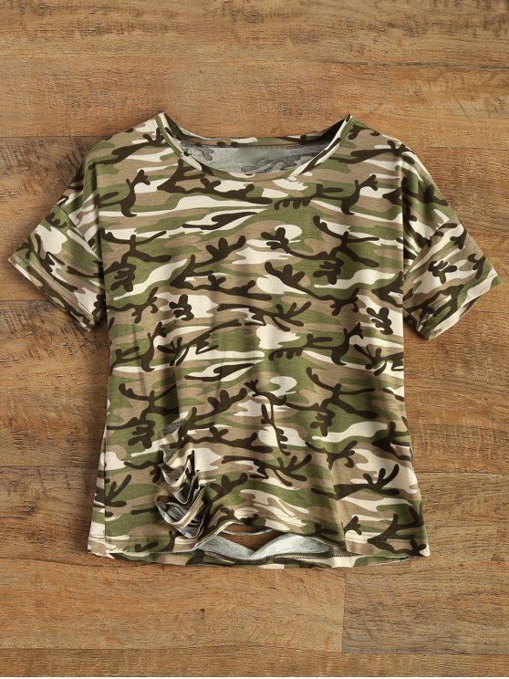shop Camo Print Distressed Hole Tee - CAMOUFLAGE XL