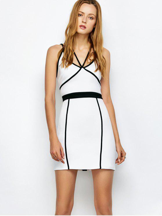 lady Piping Bodycon Bandage Slip Dress - WHITE L