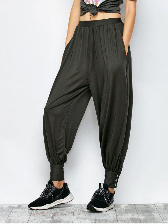 women's Loose Fit Harem Pants - DEEP GRAY M