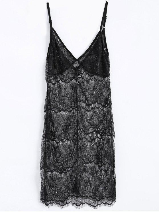 women's Sheer Lace Slip Babydoll Dress Lingeries - BLACK S