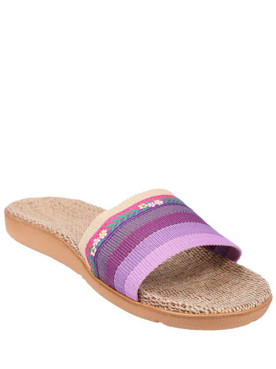 Striped Flowers Indoor Slippers - Blue Size(37-38) outlet 2014 order sale online buy cheap find great Alse9LHWLE