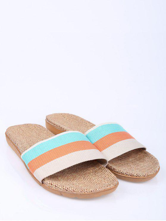 Striped Color Block Linen House Slippers - Orange Size(37-38)