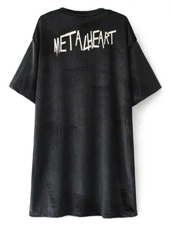 De gran tamaño Metalheart terciopelo de la túnica de la camiseta - Negro L