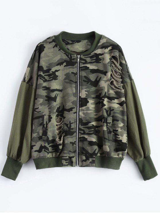online Distroyed Camo Bomber Jacket - ACU CAMOUFLAGE 3XL