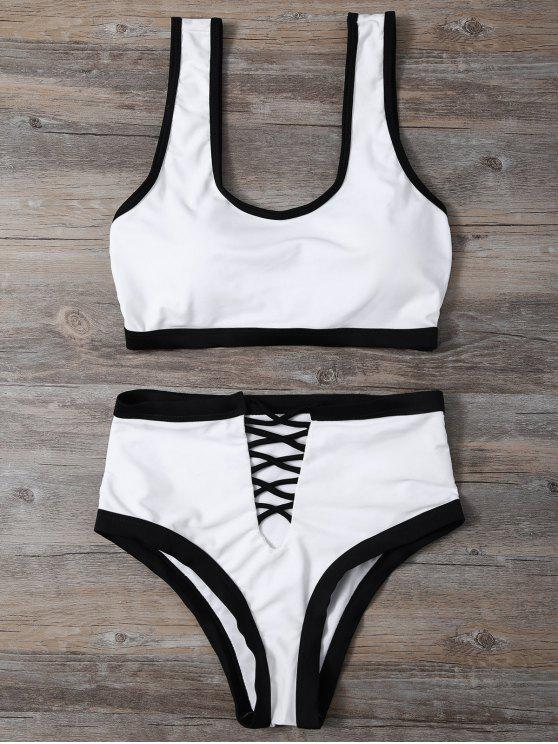 best Contrasting Piped Lace Up Pullover Bikini - WHITE L